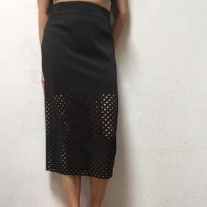 Black Mid-length Skirt w/ Laser Cut Detail